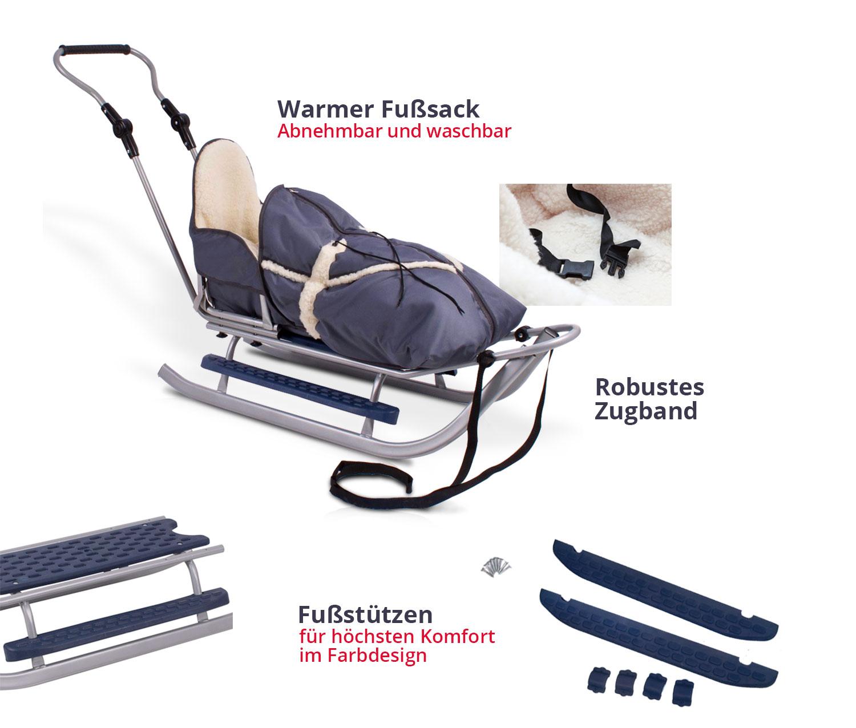 schlitten mit r ckenlehne schieber fu sack bob rodeln schlitten babyschlitten ebay. Black Bedroom Furniture Sets. Home Design Ideas