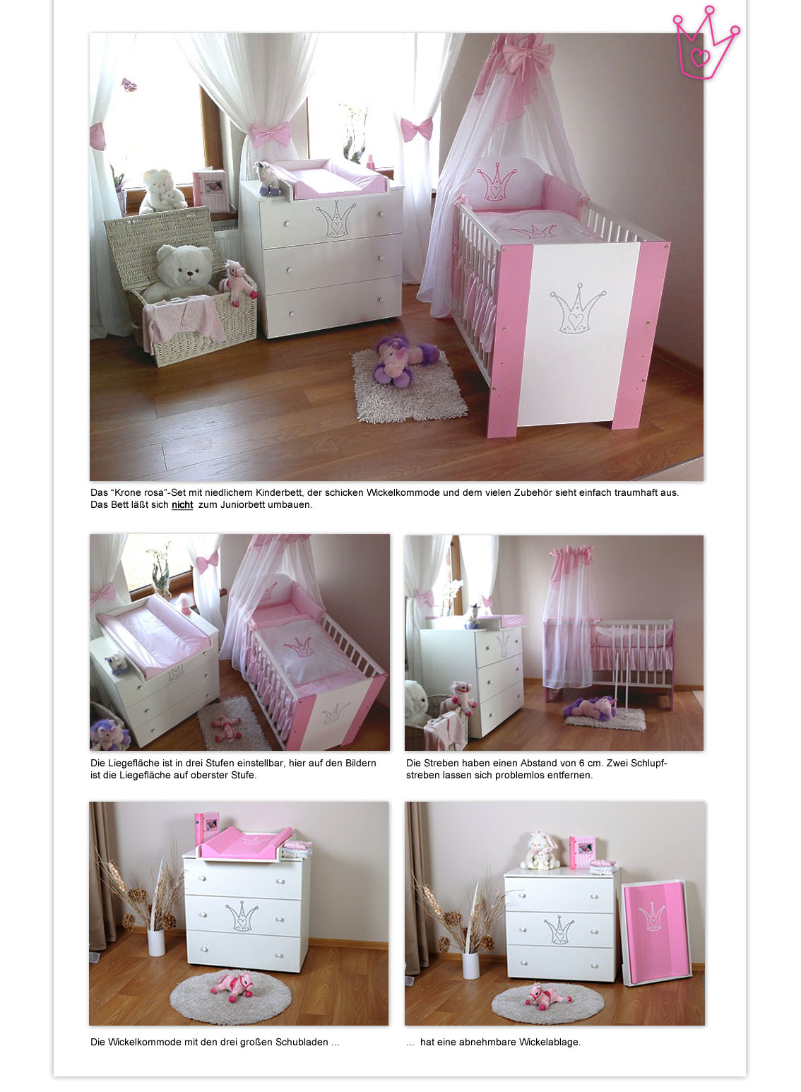 krone rosa komplett set babybett kinderbett wickelkommode babyzimmer baby bett 4260253173555 ebay. Black Bedroom Furniture Sets. Home Design Ideas