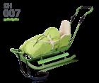 Hecht Garten Metall Schlitten Rodel mit RÜckenlehne, Fußsack 7 Farbenv SH007 grün limegreen